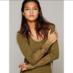 Free People Synergy Crochet Lace Cuff Thermal Top